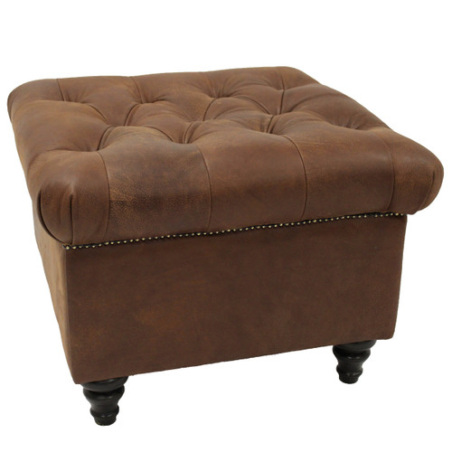 Sitara Leather Ottoman - Spice