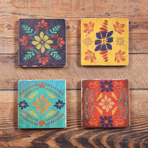 Southwest Bloom Coasters - Set of 4 - OVERSTOCK
