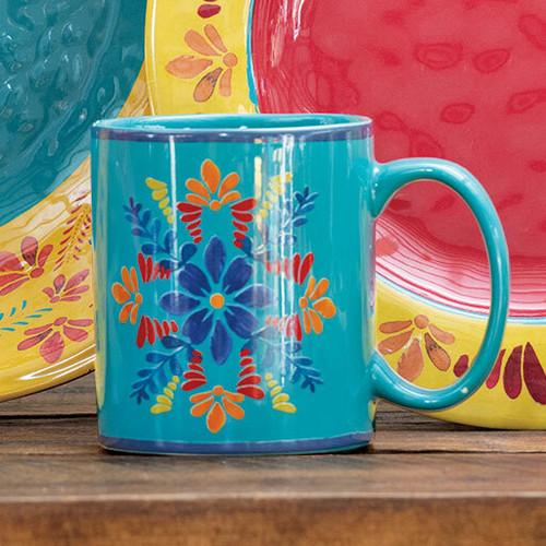 Southwest Bloom Turquoise Mugs- Set of 4