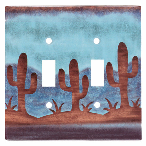 Southwest Cactus Double Switch Cover