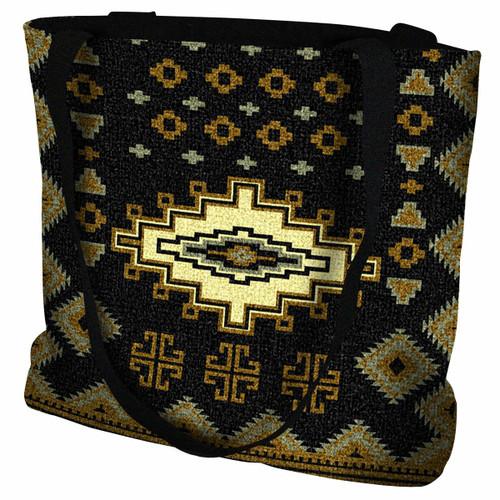 Southwest Sampler Black and Gold Tote Bag