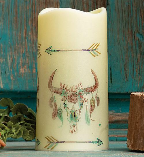 Southwest Visions Skull LED Candle