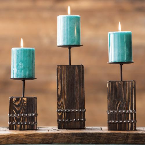 Southwest Wood Candle Holder Set - 3 pcs