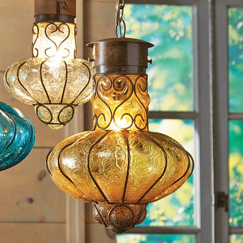 Southwestern Flower Glass Pendant Light - Large - Turquoise