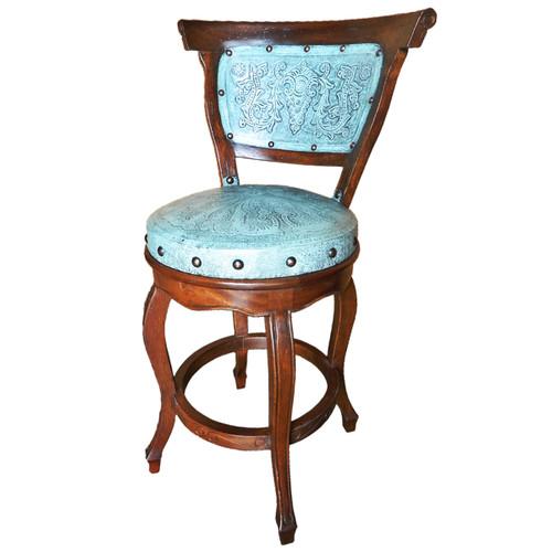 Spanish Heritage Barstool with Back - Turquoise