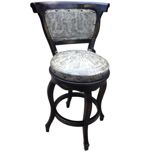 Spanish Heritage Swivel Barstool with Back - Ash