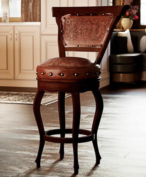 Spanish Heritage Swivel Barstool with Back - Set of 3