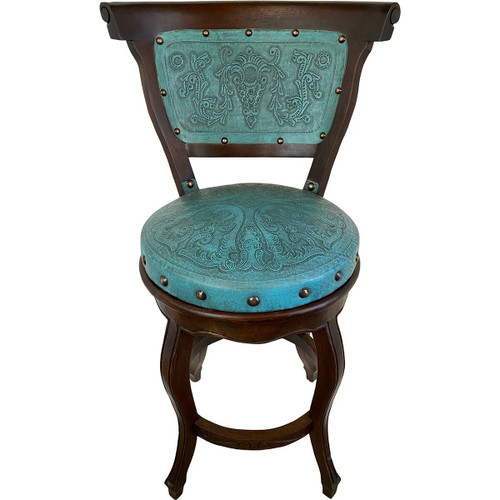Spanish Heritage Swivel Counter Stool with Back - Teal