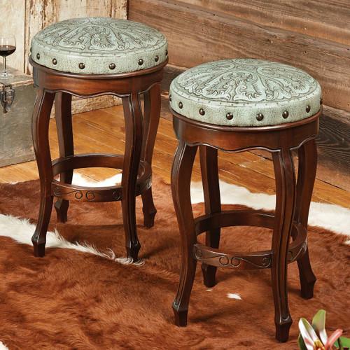Spanish Heritage Turquoise Round Barstool - Set of 2
