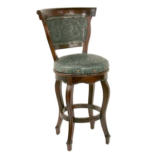 Spanish Heritage Turquoise Swivel Counter Stool with Back - Set of 2
