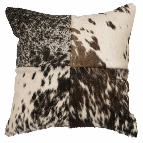 Speckled Hair-On-Hide Stitched Pillow with Fabric Back