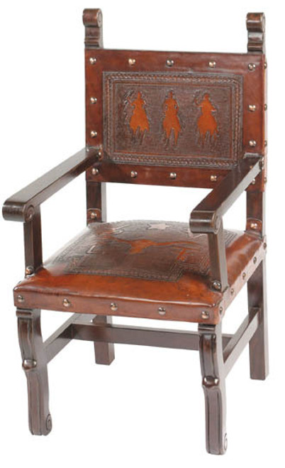Spanish Heritage Arm Chair with Posse Back & Steer Seat