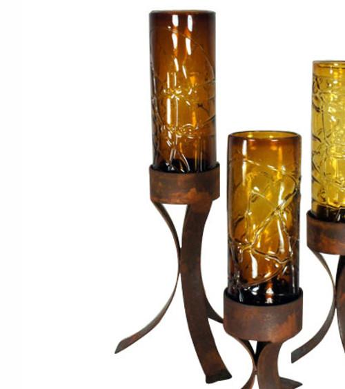 Spider Web Amber Glass Cylinder on Iron Base - Large