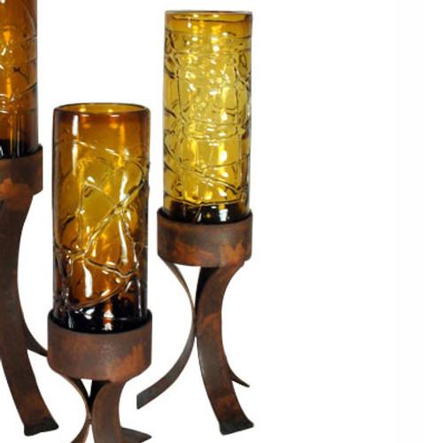 Spider Web Amber Glass Cylinder on Iron Base - Medium