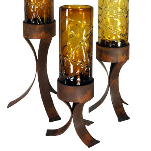 Spider Web Amber Glass Cylinder on Iron Base - Small