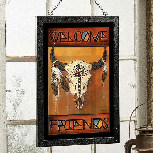 Stained Glass Art Bison Skull