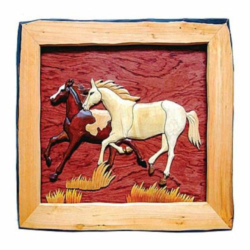 Stallion Pair Wood Wall Art
