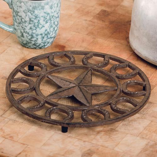 Star & Horseshoe Cast Iron Trivet