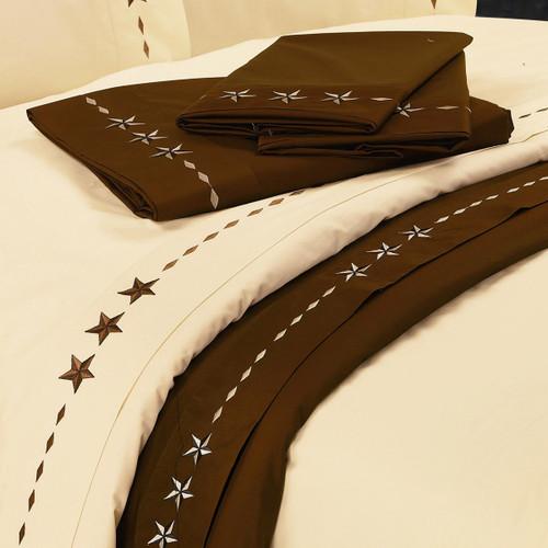 Star Chocolate Sheet Set - Queen