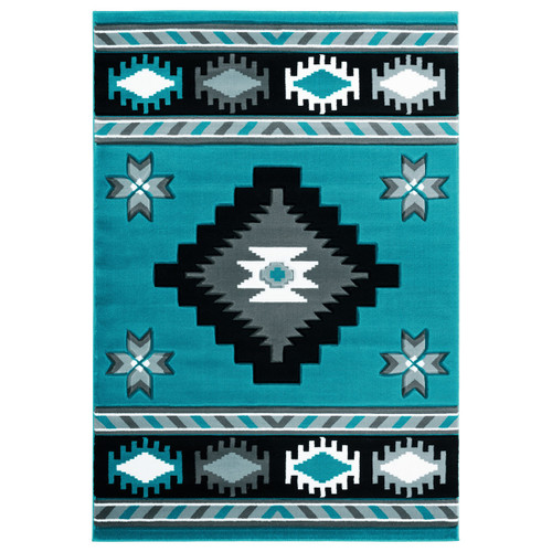 Star Vision Turquoise Rug - 8 Ft. Round