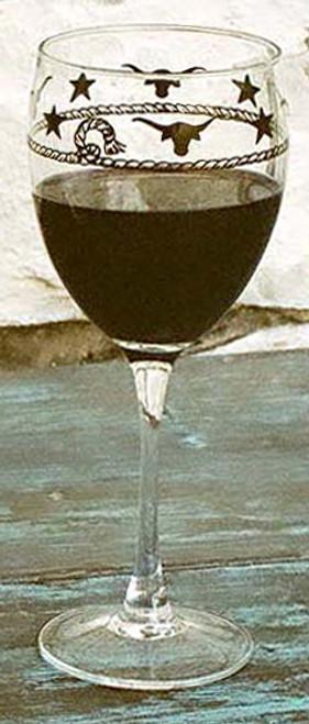 Stars & Longhorns Wine Glasses - Set of 4