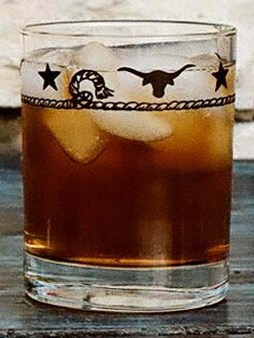 Stars & Longhorns Double Old Fashioned Glasses - Set of 4