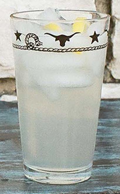 Stars & Longhorns Iced Tea Glasses - Set of 4