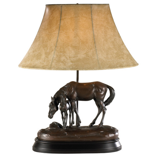 Stay Here Horse Lamp with Faux Leather Shade