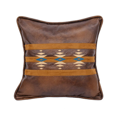 Stripes and Diamonds Faux Leather Pillow