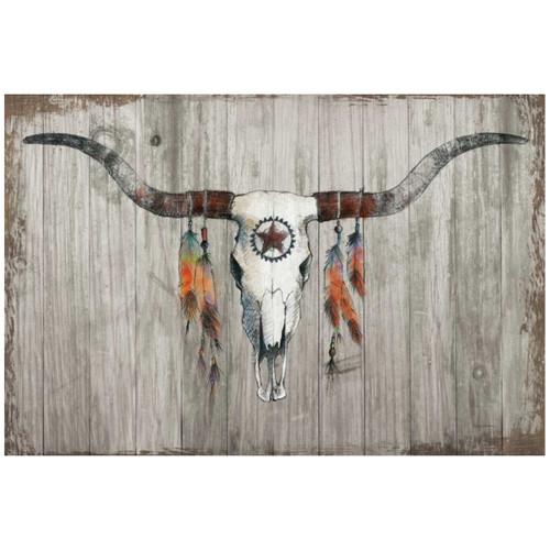 Stylized Longhorn Canvas Art