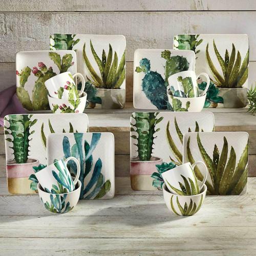 Succulent Cactus Dessert Plates - Set of 4