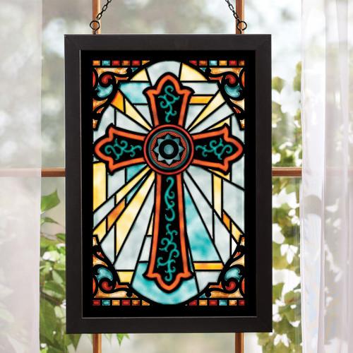 Sunbeam Cross Stained Glass Wall Art
