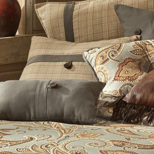 Sundance Spring Plaid Button Pillow