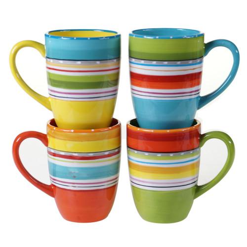 Sunrise Stripes Mugs - Set of 4