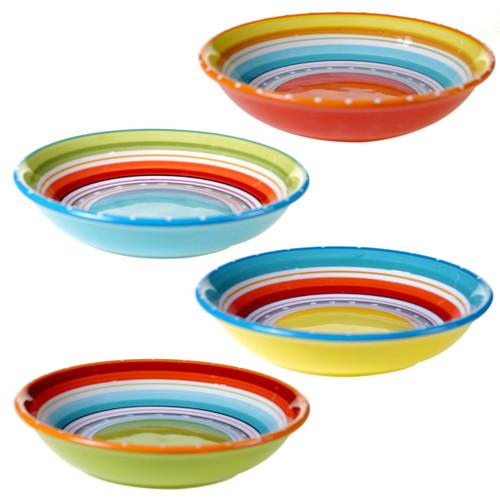 Sunrise Stripes Soup / Pasta Bowls - Set of 4