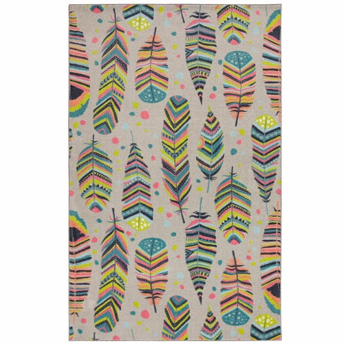Taos Feathers Gray Rug - 8 x 10