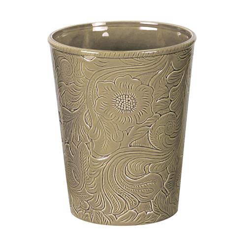 Taupe Tooled Ceramic Waste Basket