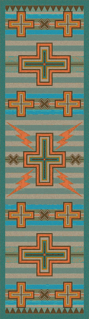 Tempest Turquoise & Gray Rug - 2 x 8