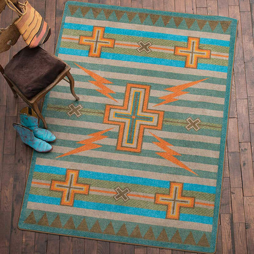 Tempest Turquoise & Gray Rug - 4 x 5