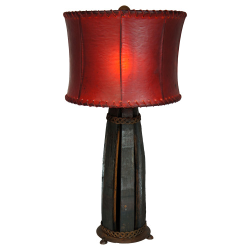Tequila Barrel Table Lamp with Rawhide Shade