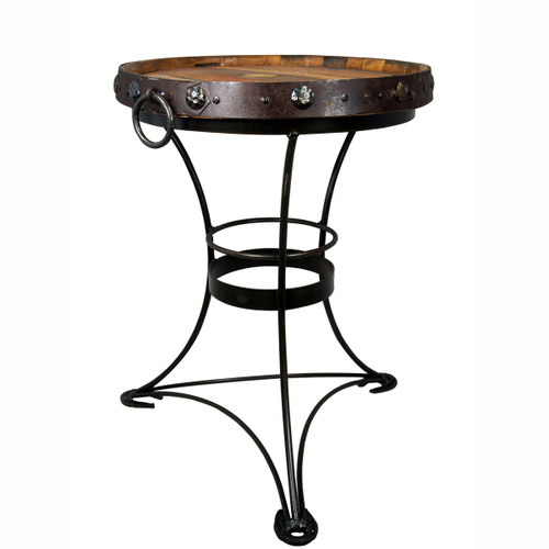 Tequila Barrel Top Table with Horseshoe Feet