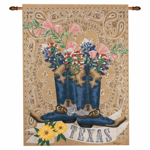 Texas Boots & Bluebonnets Wall Tapestry