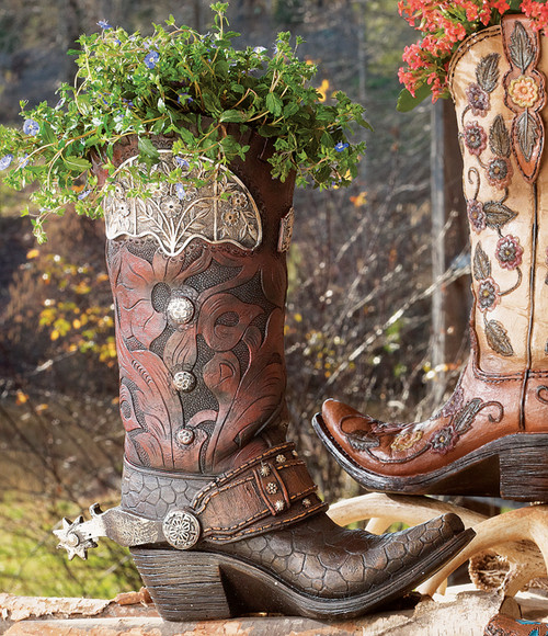 Tooled Cowboy Boot Vase