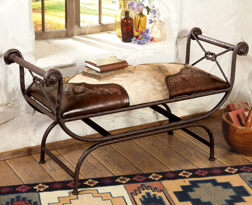 Tooled Leather and Cowhide Bench