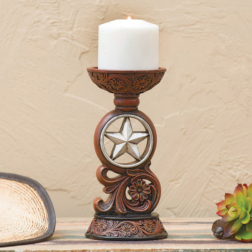 Tooled Scroll & Star Candle Holder