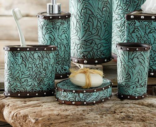 Tooled Turquoise Flowers Bath Set (3 pcs)