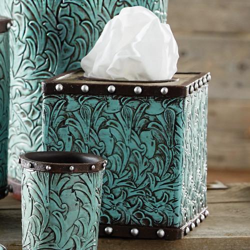 Tooled Turquoise Flowers Tissue Box