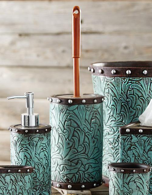 Tooled Turquoise Flowers Toilet Brush Holder