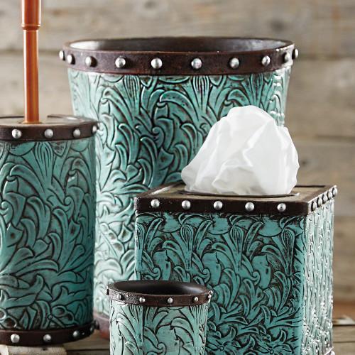 Tooled Turquoise Flowers Waste Basket - BACKORDERED UNTIL 12/17/2021