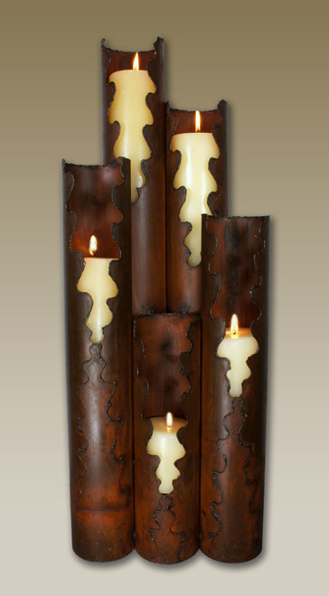 Torn Edge Metal Candle Holder - 5 Candles
